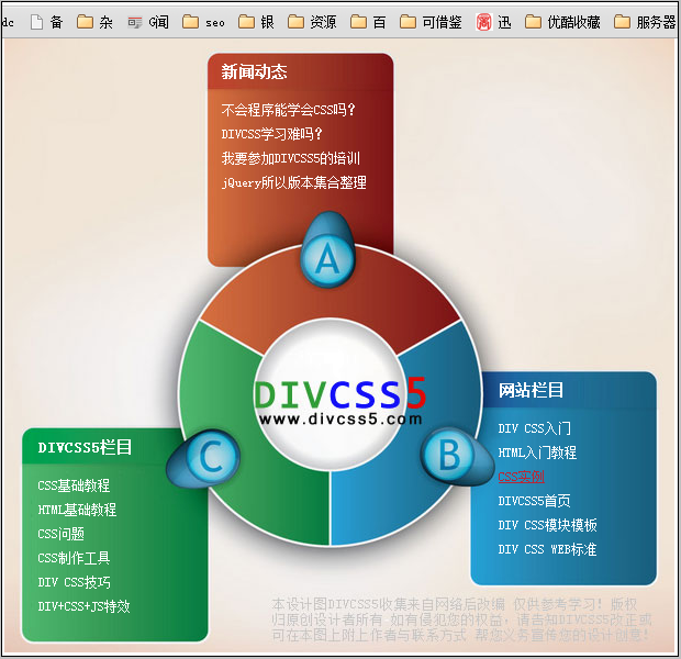 CSS实例最终浏览器效果截图