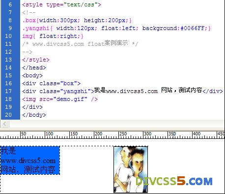 div+css中fllat实例展示图