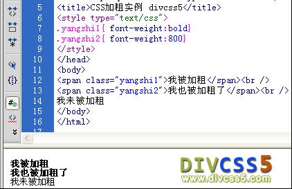 CSS 加粗实例效果图