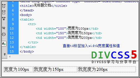 td标签内设置width宽度