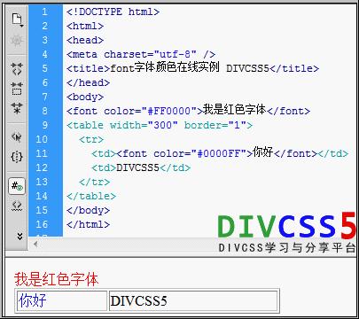 html字体颜色设置案例